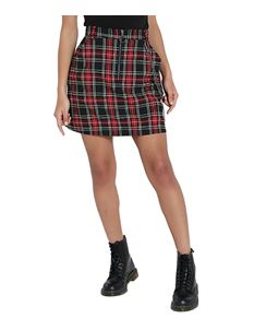 Hell Bunny Clash Alternative Mini Skirt Red Tartan