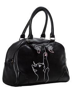 Dancing Days By Banned Black Meow Black Cat Handbag