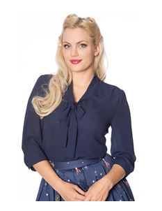 Banned 40s Navy Blue Perfect Pussy Bow Crepe Blouse