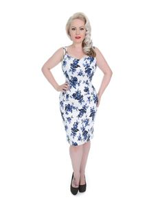 Hearts & Roses Blue Rosaceae Floral Wiggle Dress
