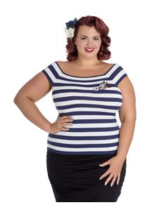Hell Bunny Navy Blue White Hailey Jumper