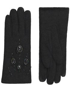 Pia Rossini Vintage Style Pipper Wool Black Glove