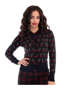 Collectif Wendy Cherry Navy Cardigan
