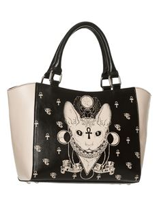 Banned Bastet Sphynx Cat Tote Bag Alternative Handbag Black/Cream