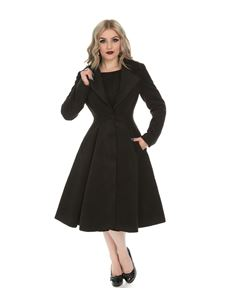 Hearts & Roses Black Lauren Single Breasted Swing Coat