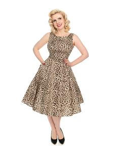 Hearts & Roses Zabrina Brown Leopard Print 50s Dress
