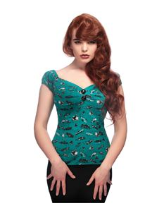Collectif Dolores 50s American Car Teal Green Gypsy Top