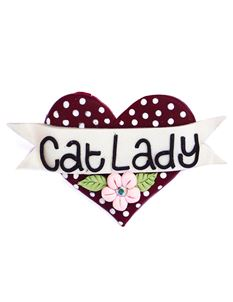 Guns N Posies Cat Lady Heart Brooch