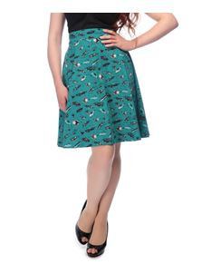 Collectif Tammy Teal Green 50s Novelty Car Print Skirt