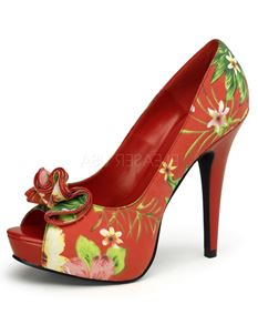 Pin Up Couture Lolita 11 Floral Peep Toe Fabric Shoes