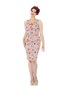 Voodoo Vixen Allison Retro Diner 50s Pink Wiggle Dress