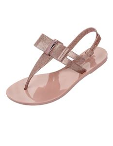Zaxy Glaze Summer Sandal In Rose With Bow & Ankle Strap