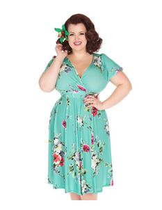 Lady Vintage Voluptuous Lyra Aqua Floral Dress