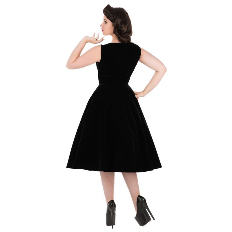H&R London 50s Velvet Romance Evening Party Dress Black