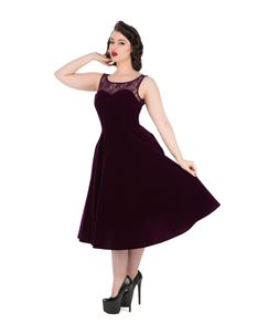 Hearts & Roses Purple Velvet 50s Style Swing Dress