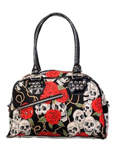 Banned Alternative Skull Roses Gothic Handbag
