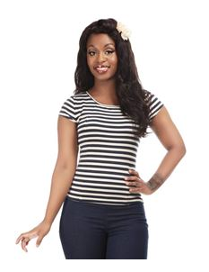 Collectif Alice Navy White Stripe T-shirt