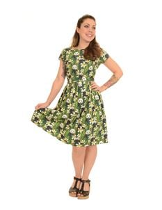 Run & Fly 1950s Green Panda Tea Dress