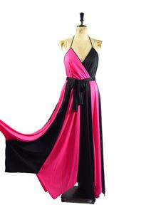 True Vintage Black And Pink 1970's Dress