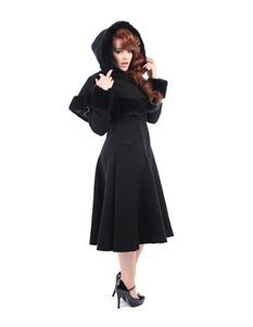 Collectif Anoushka 50s Princess Black Coat With Cape