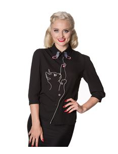 Dancing Days by Banned Snow Bird Cat Black Crepe Blouse