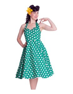 Hell Bunny 50's Mariam Polka Dot Dress Green