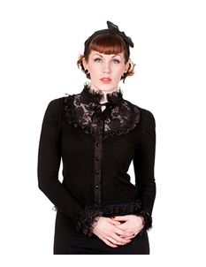 Banned Lace Rose Victorian Gothic Black Cardigan