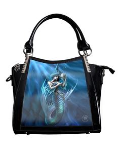 Anne Stokes 3D Sailors Ruin Mermaid PVC Black Handbag