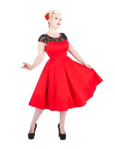 Hearts & Roses 50s Red Lace Swing Dress
