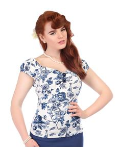 Collectif Dolores 50s Style Toile White Blue Gypsy Top