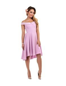 Collectif Romy Dip Hem 50s Style Swing Lilac Dress