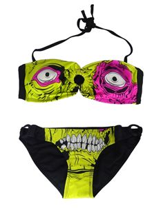Sale Iron Fist Zombie Chomper Bandeau Bikini Lime Green UK 6 & 8 ONLY