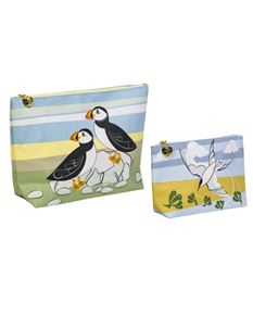 Magpie Puffin & Tern Set of Two - Wash and Make Up Bags