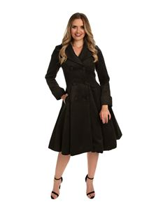 Hearts & Roses 50s Black Winter Rockabilly Pleated Coat