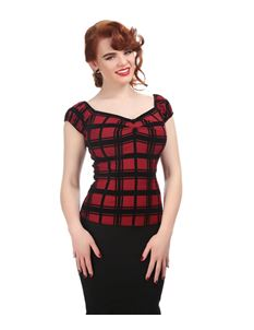 Collectif 50s Dolores Red Black Check Velvet Flock Top