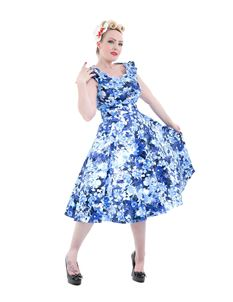 Hearts & Roses Blue Floral Frill Sleeve Swing 50s Dress