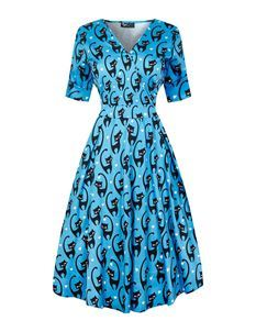 Lady Vintage Voluptuous Estella Fantastic Cats Dress