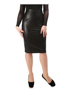 Collectif 50s Style Polly Black PU Leather Pencil Skirt