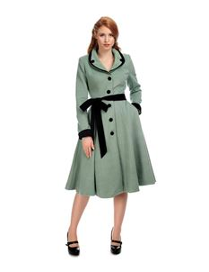 Collectif Imma 40s 50s Light Green Princess Coat