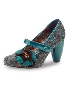 Joe Browns - Rosalind Teal Tweed Mary Jane Shoes