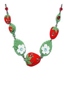 Guns N Posies Green Crystals Strawberry Necklace