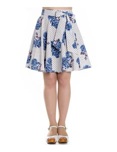 Hell Bunny Lori Blue Rose Floral Polka Dot Mini Skirt