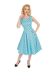 Hearts & Roses Playful Polka Dot 50s Blue Dress