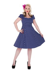 Claudia Flirty Navy Blue White Polka Dot Dress
