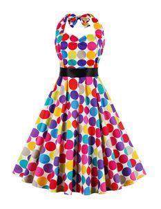 Foxy Roxy Polka Dot Halter Neck Swing Dress