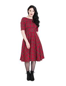 Hell Bunny Irvine Vintage Style 50s Red Tartan Dress