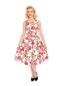 Hearts & Roses 50's White Pink Roses Summer Swing Dress