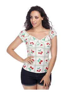 Collectif Dolores Sweetheart Cherry Picnic Gypsy Top
