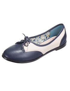 Dancing Days 40's Kendra Swing Lindy Hop Flat Shoes Navy/Cream