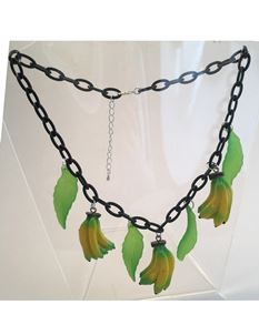 1940s Celluloid Style Banana And Leaves Fruit Necklace